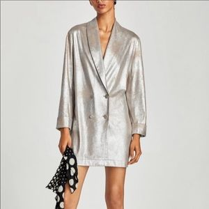 Zara Metallic Faux Suede Long Jacket Size Large